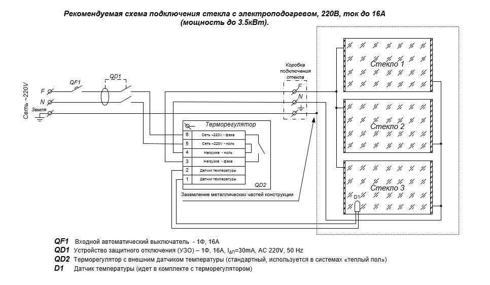 Схема подключения стекла с электрообогревом, ток до 16A, 220В